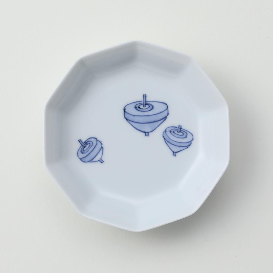 独楽絵豆皿