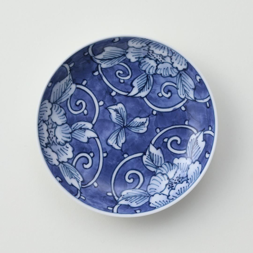 牡丹絵豆皿(三方割)