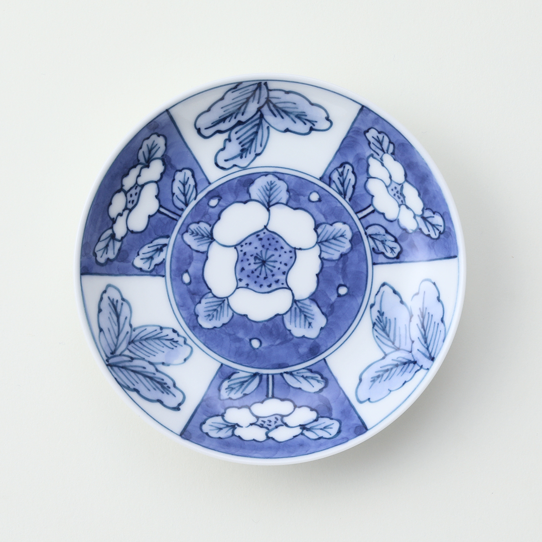 三方花柄絵豆皿
