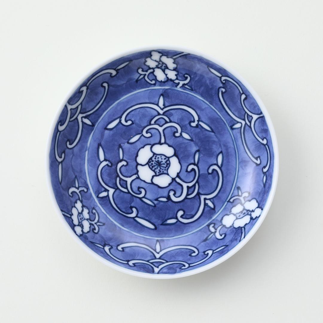 花唐草見込豆皿