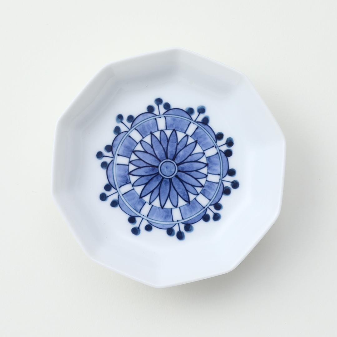菊柄見込水玉紋豆皿