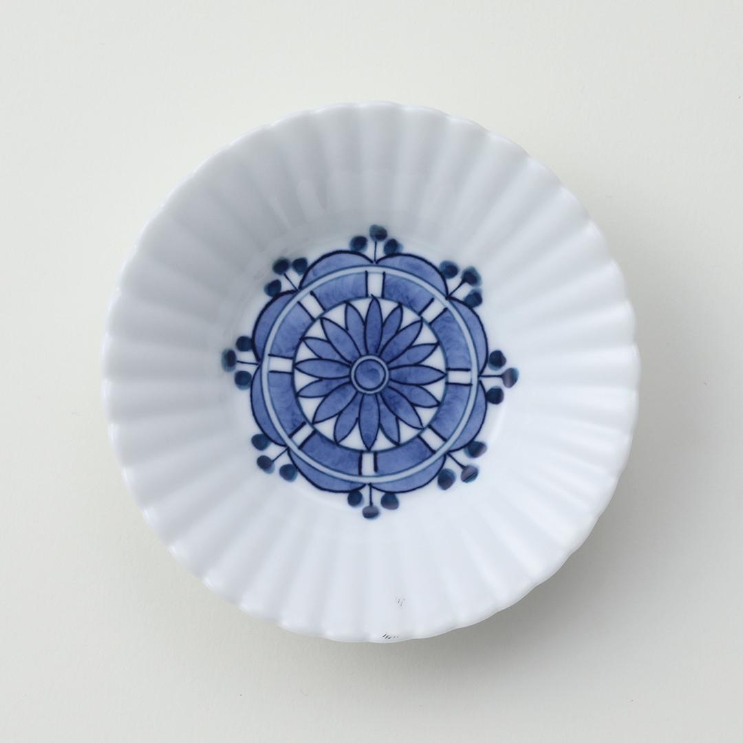花柄見込水玉紋豆皿