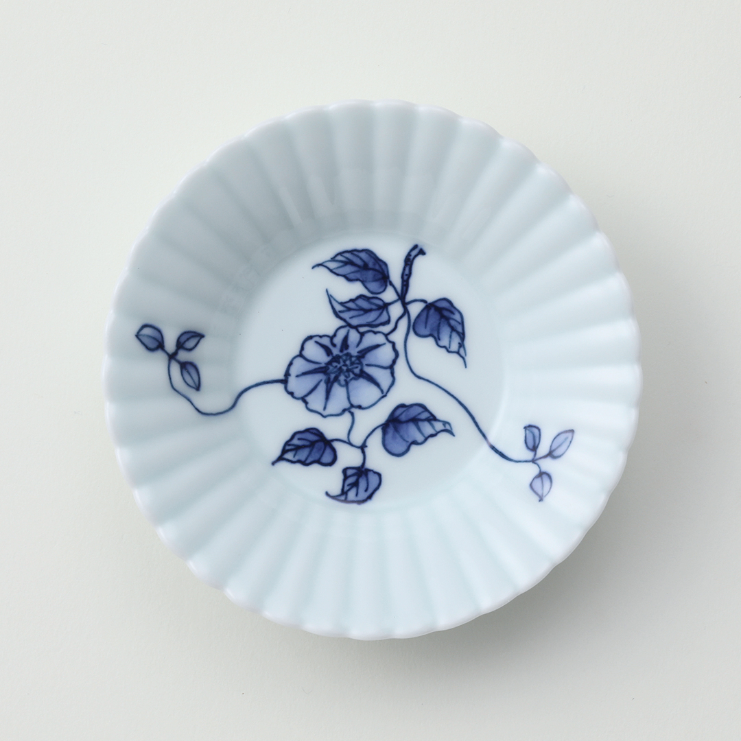 鉄線絵豆皿