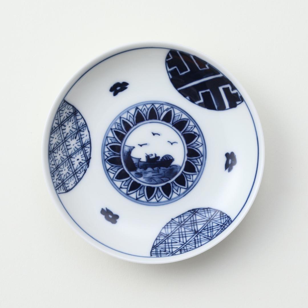 丸紋山水絵豆皿(全面)