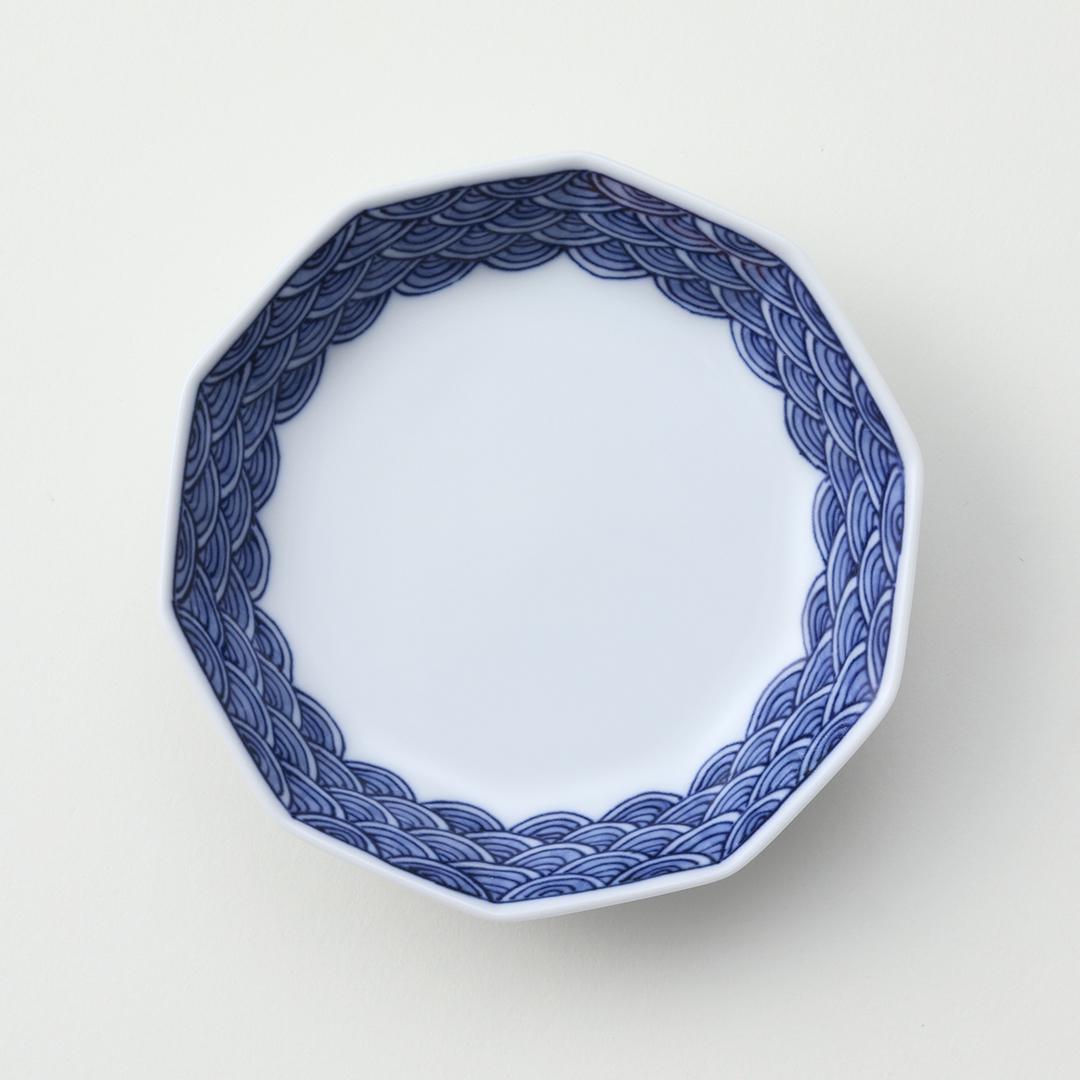 青海波文豆皿(外絵)