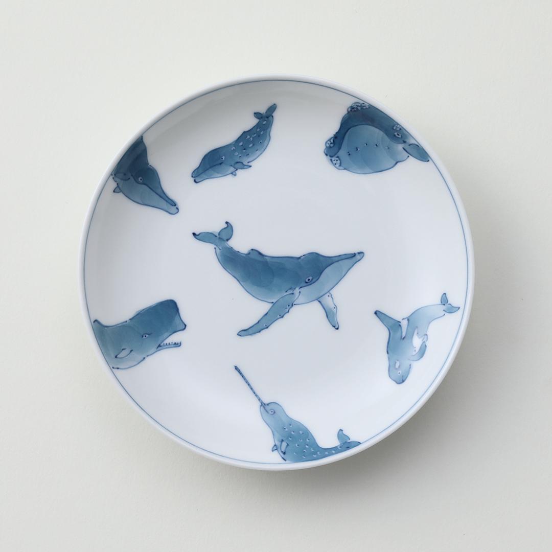 濃七頭鯨豆皿