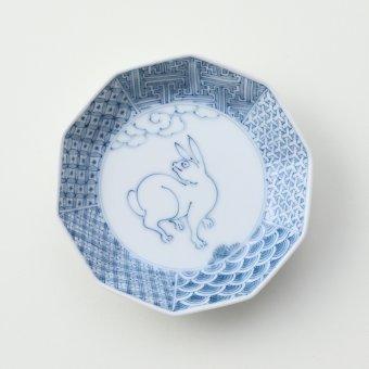 地紋うさぎ豆皿