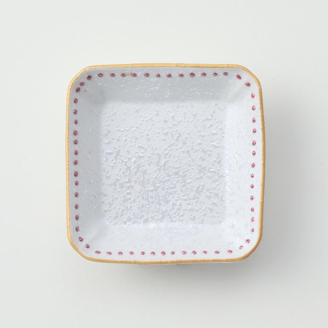 赤水玉ラスター豆皿