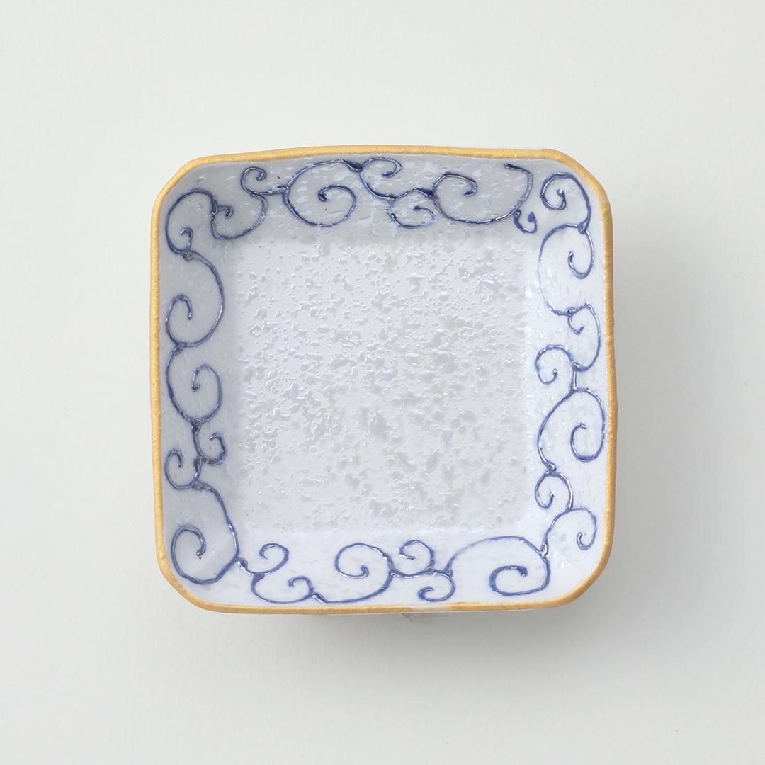 青唐草ラスター豆皿