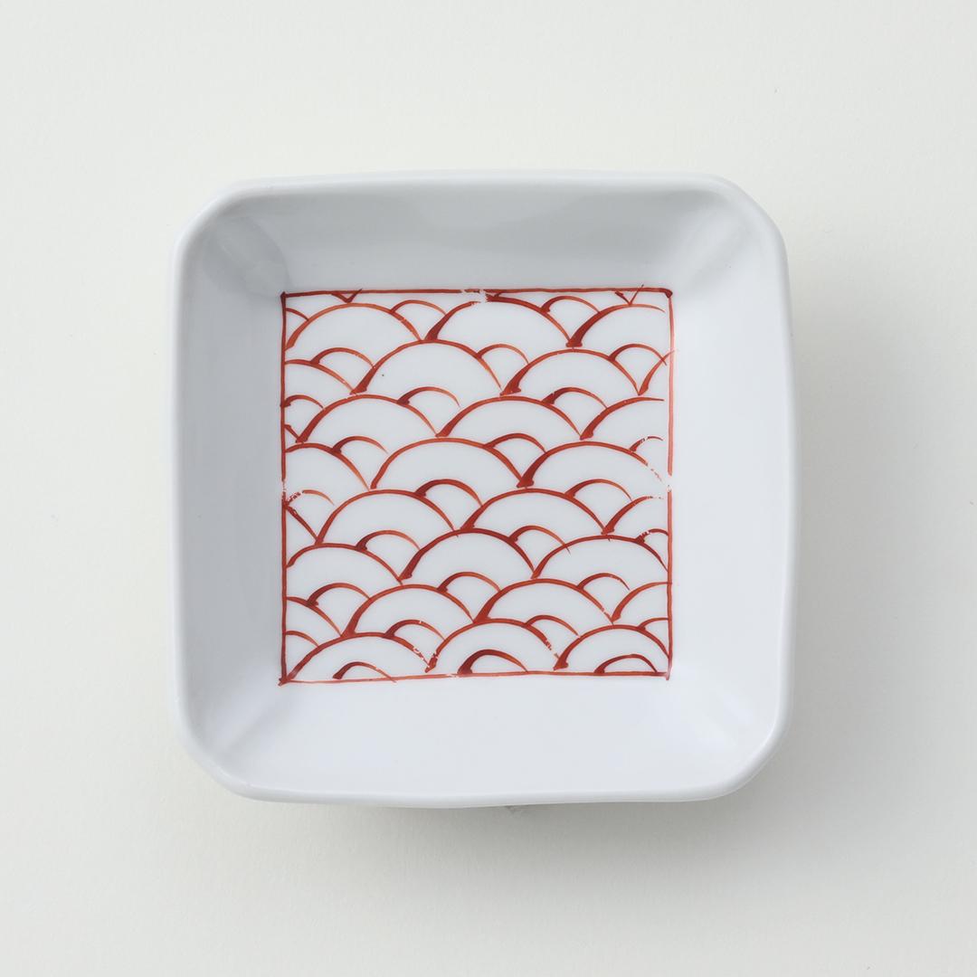 太白赤青海波豆皿