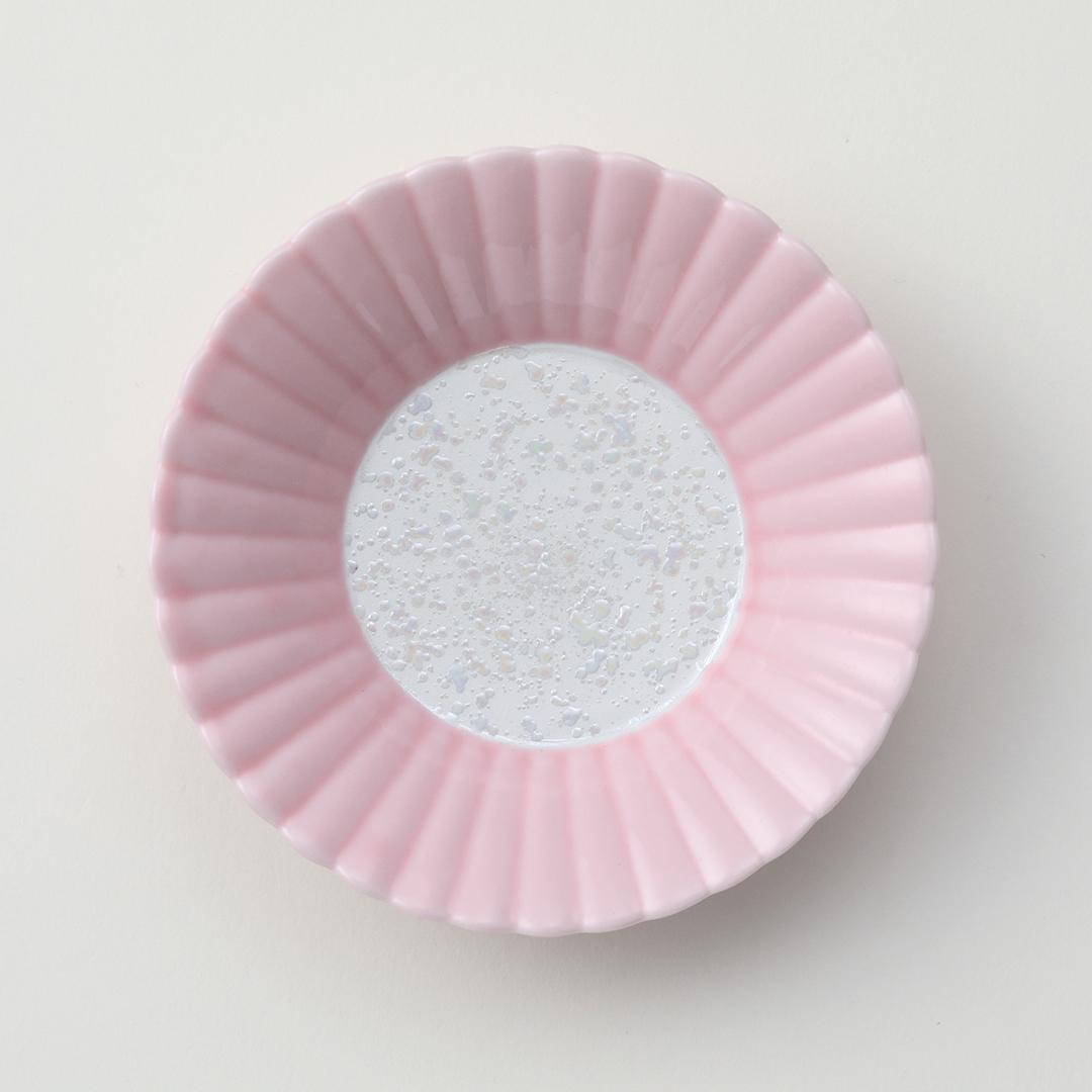 ピンク釉ラスター豆皿