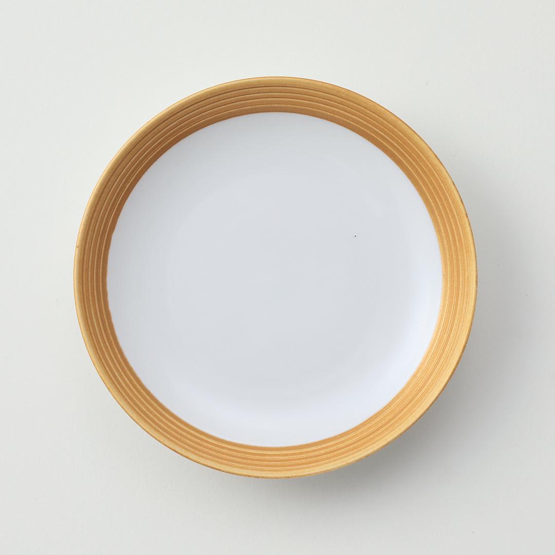 アイボリー線段金豆皿