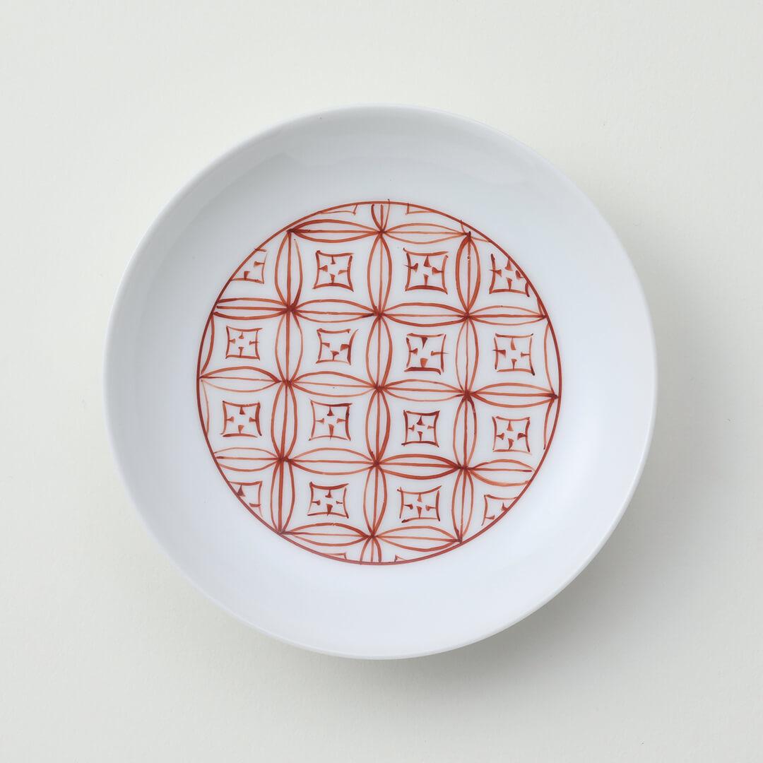 太白赤色七宝豆皿