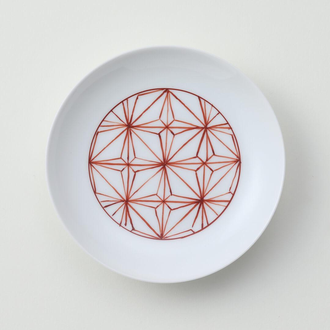太白赤色地紋豆皿