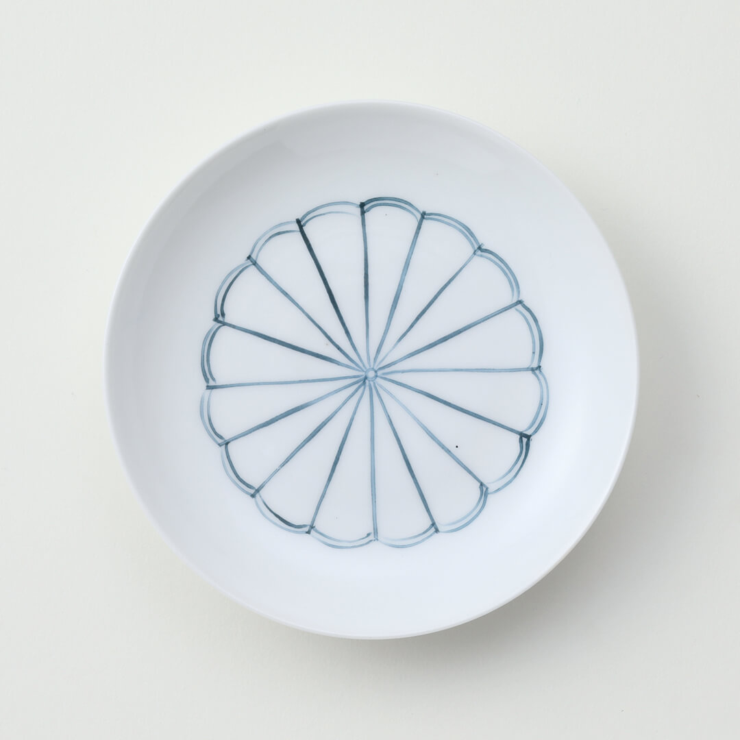 太白青色菊豆皿