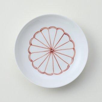 太白赤色菊豆皿
