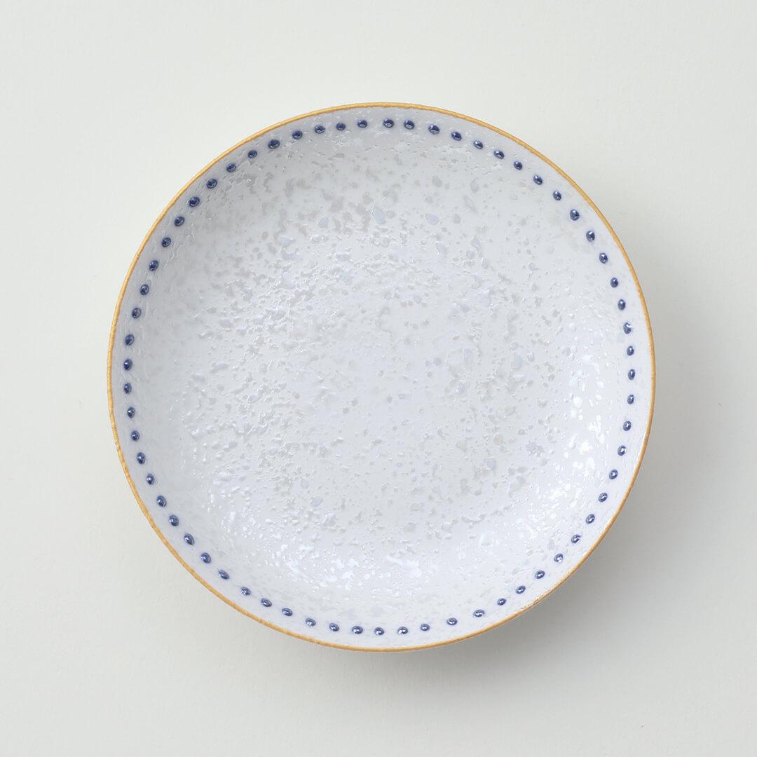 水玉青ラスター豆皿