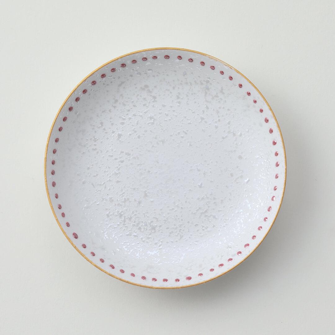 水玉赤ラスター豆皿