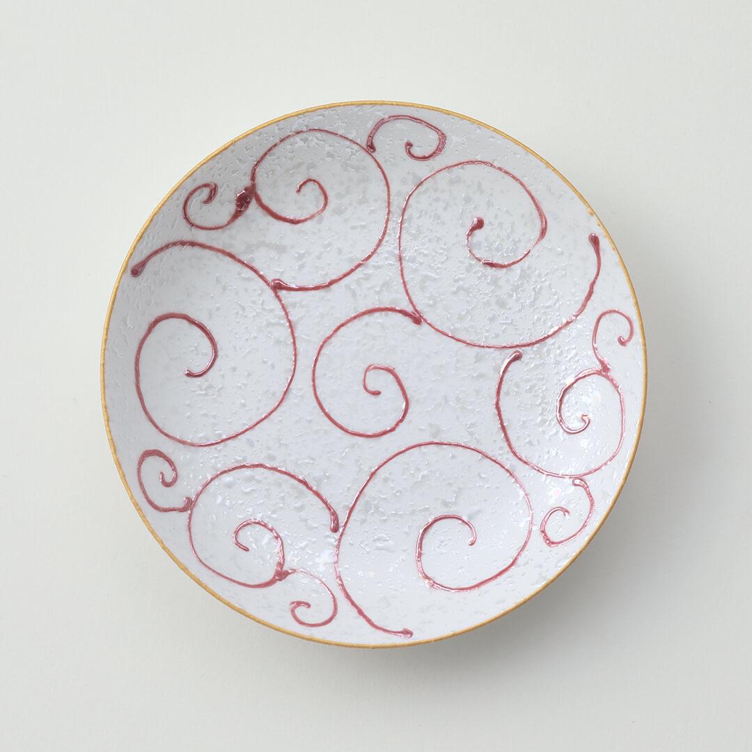 唐草赤ラスター豆皿