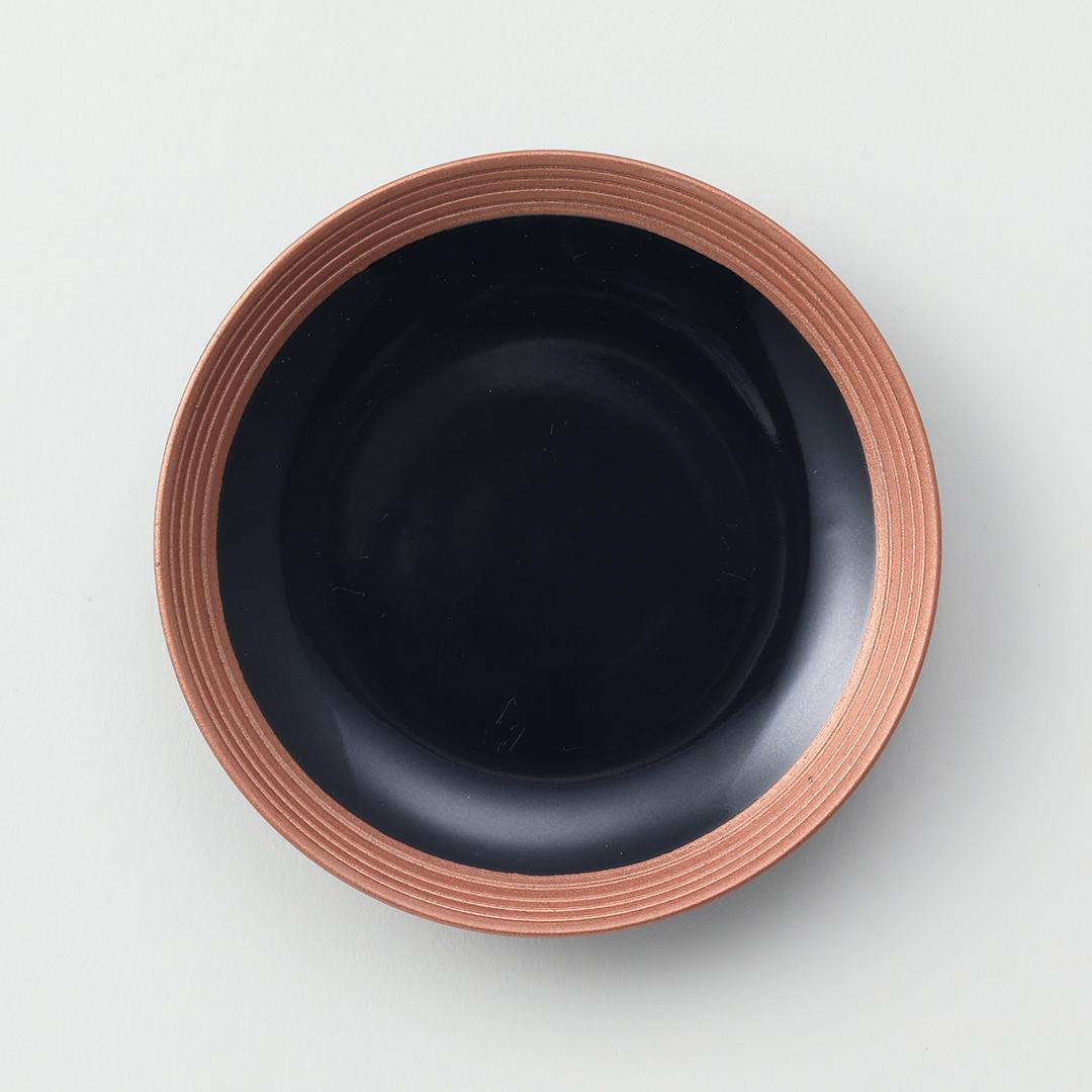 黒釉線段カッパー豆皿