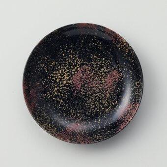 黒釉二色たたき豆皿