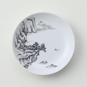 太白黒山水豆皿