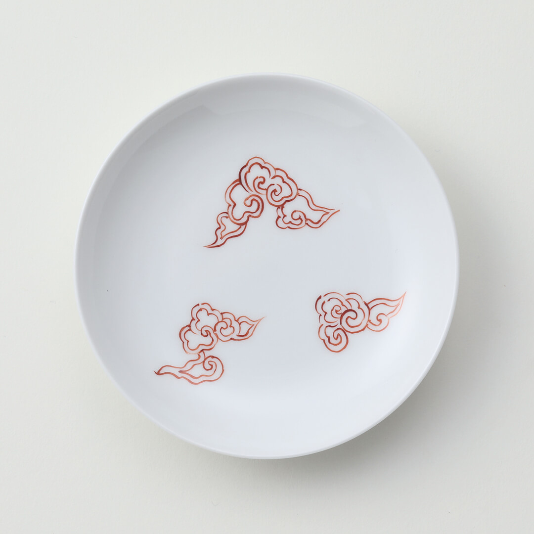 太白赤雲豆皿