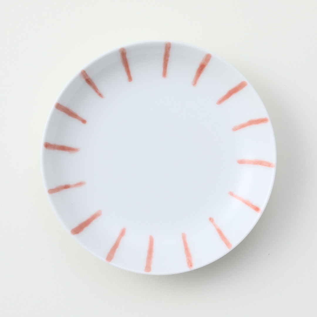 渕かき豆皿 赤