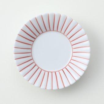 うす赤 線かき豆皿