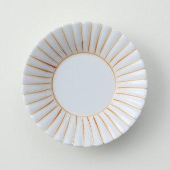 うす黄 線かき豆皿