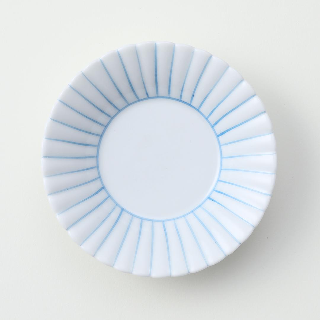 うす青 線かき豆皿