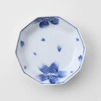 墨はじき 桜豆皿