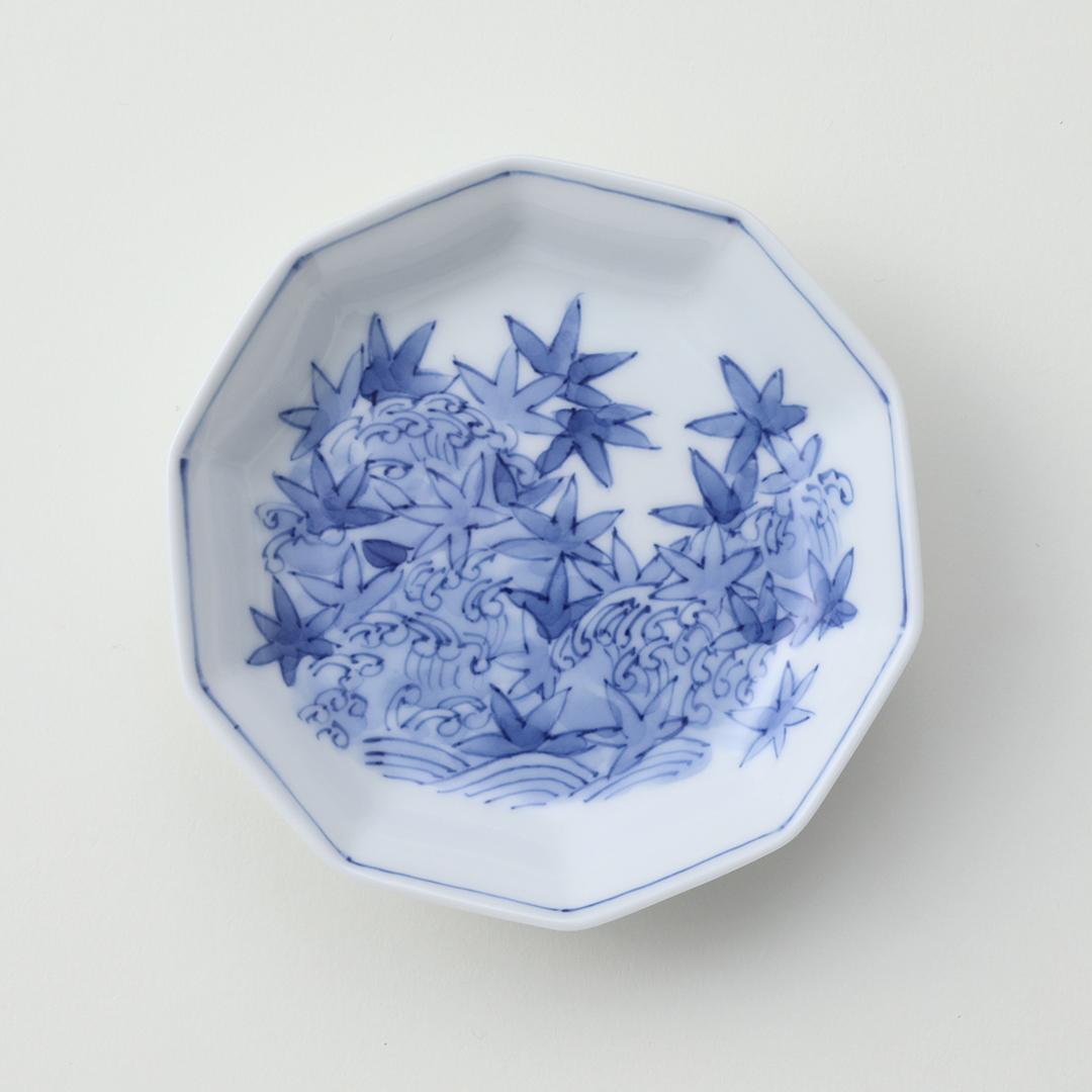 波紅葉豆皿