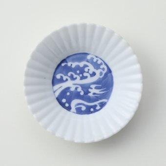 墨はじき 波絵豆皿