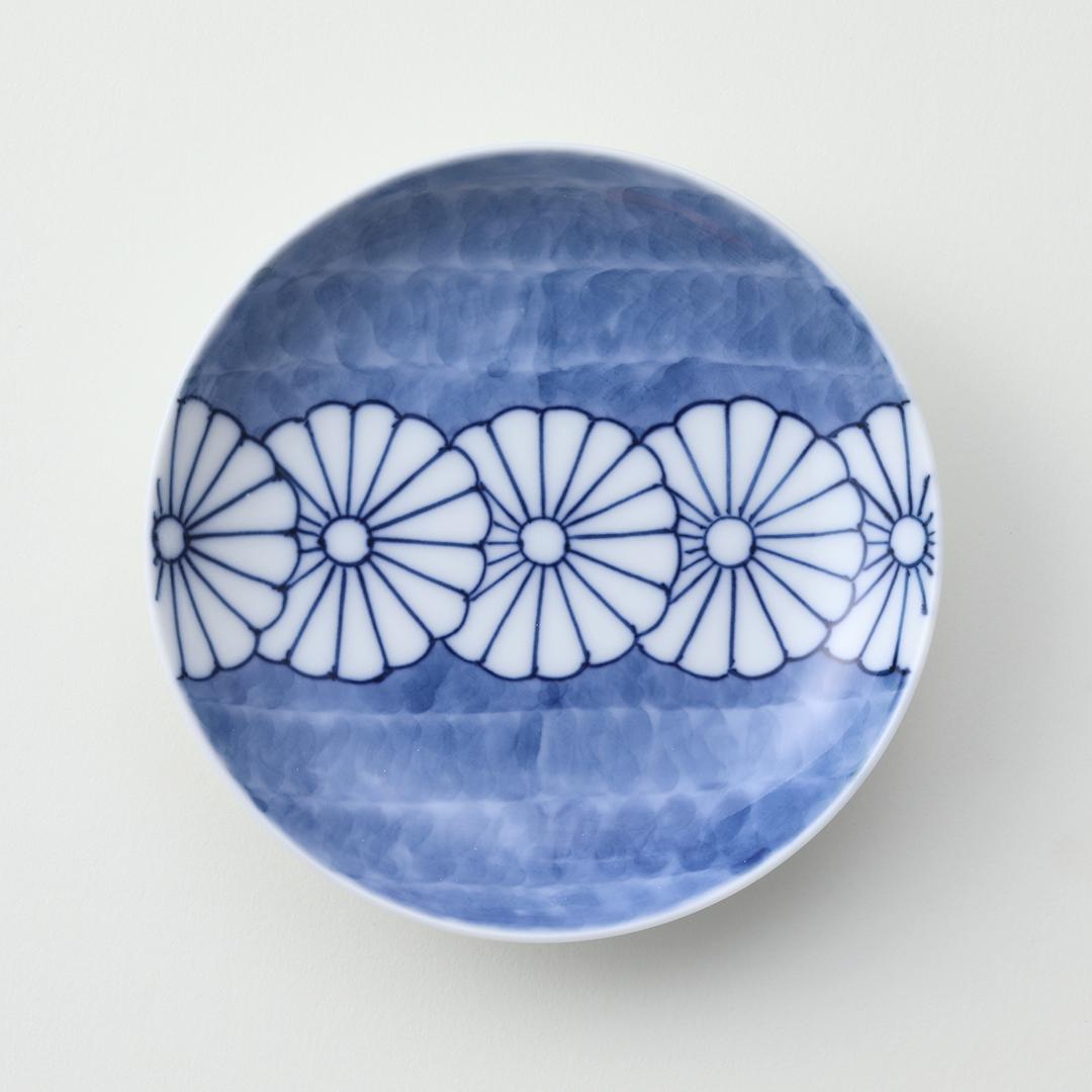 菊一列豆皿(青)