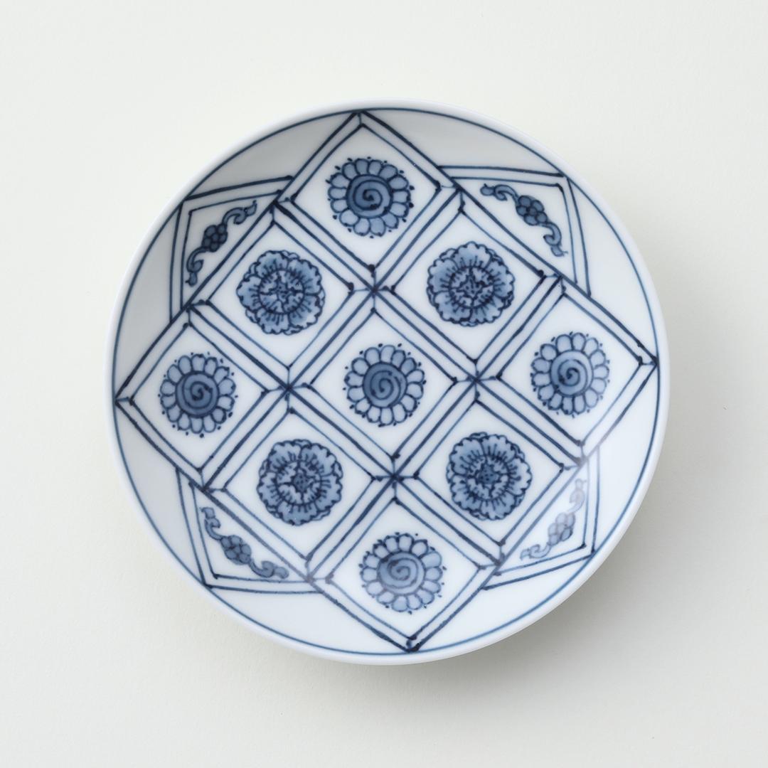 菱花絵豆皿