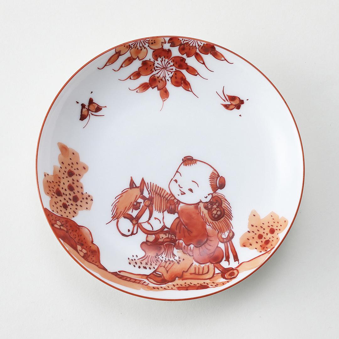 赤濃 馬と唐子絵豆皿