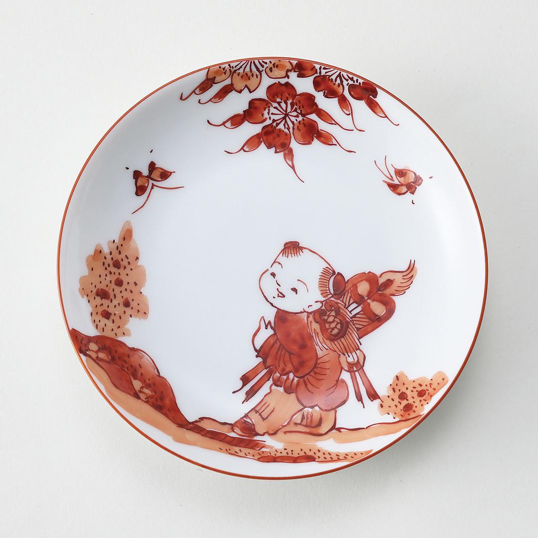 赤濃 扇と唐子絵豆皿
