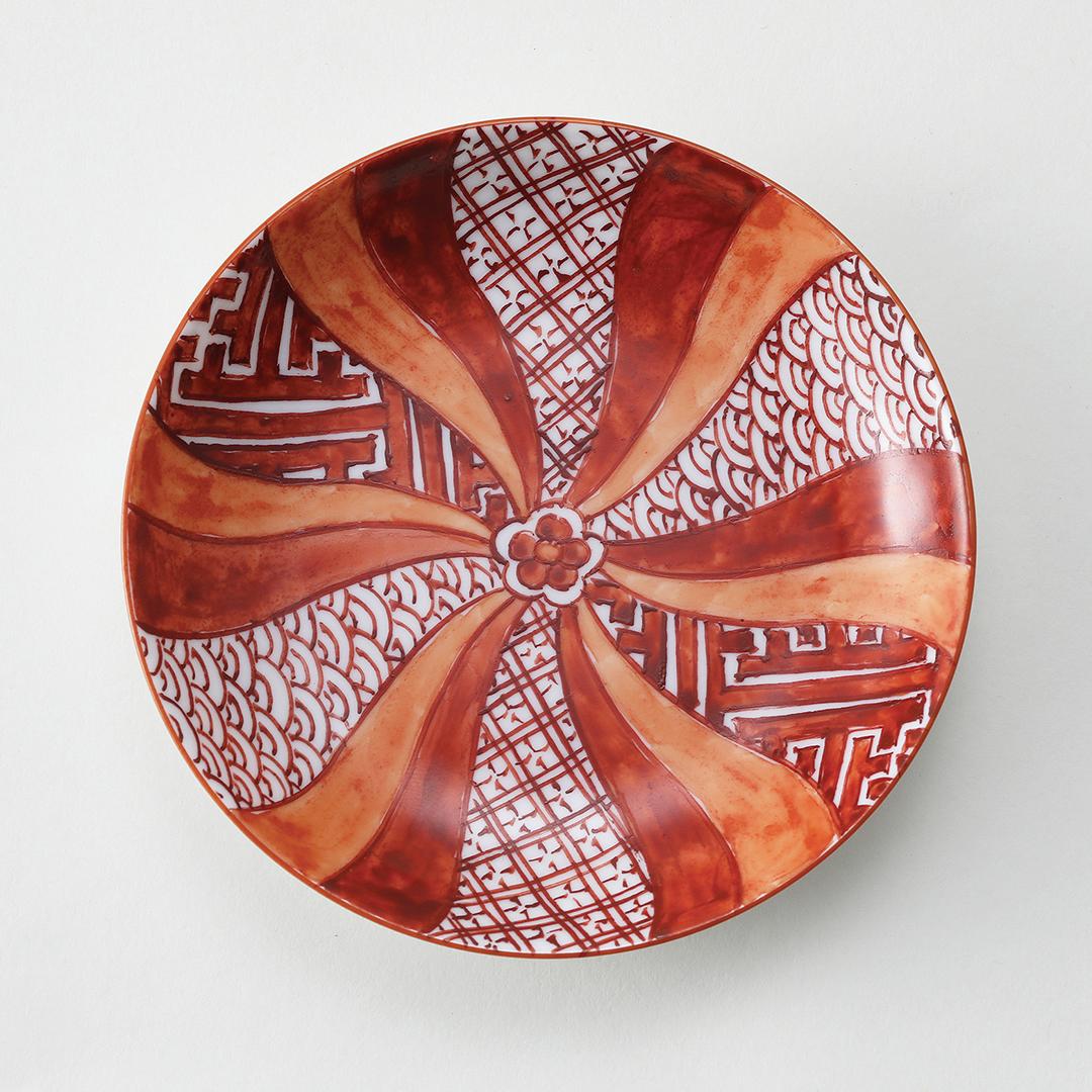 赤絵割地文絵豆皿