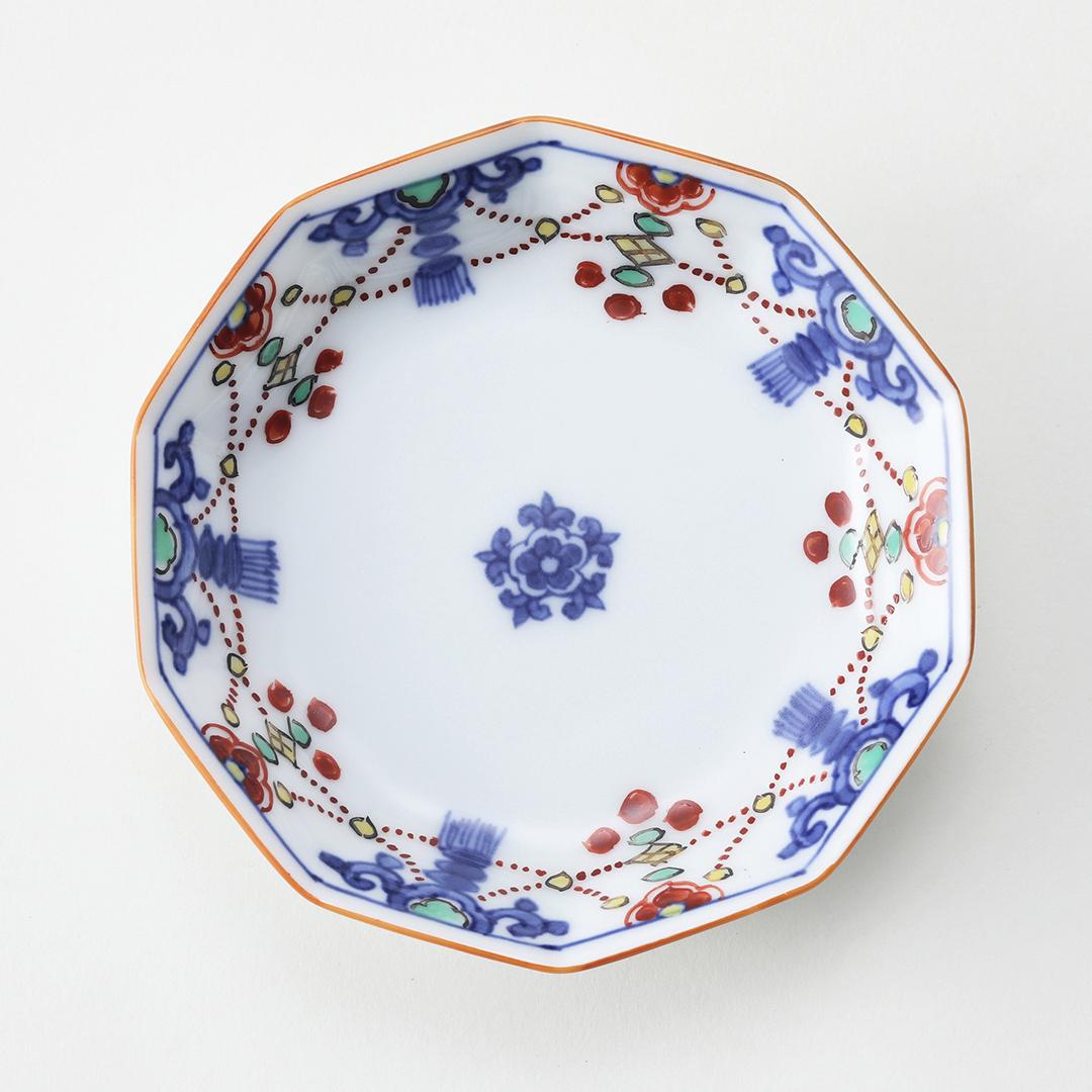 染錦瓔珞文絵豆皿