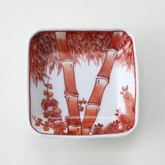 赤絵松竹梅絵豆皿