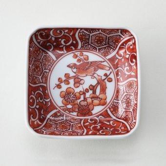 赤絵花鳥地文絵豆皿