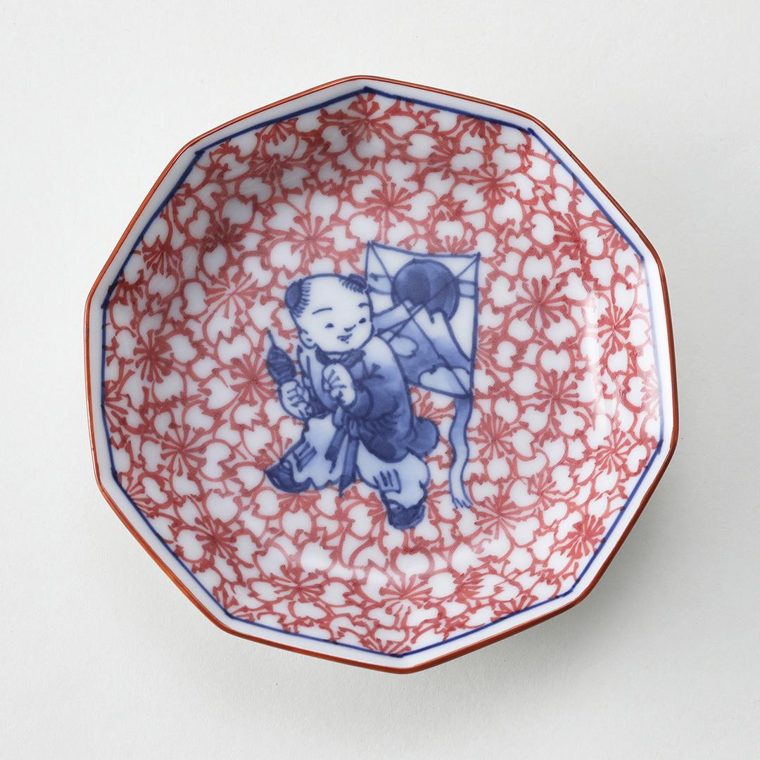 染錦桜づめ凧と唐子絵豆皿