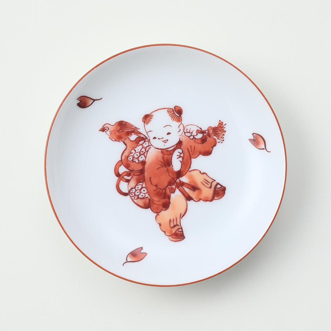 赤絵 瓢と唐子絵豆皿