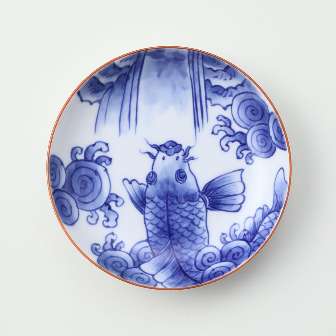 染付波に鯉絵豆皿