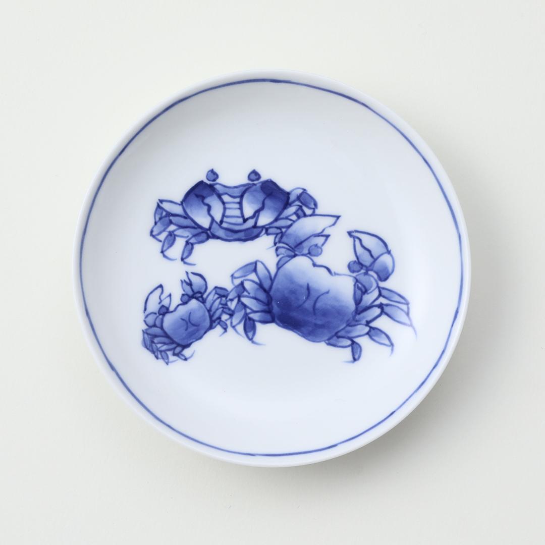 染付蟹絵豆皿