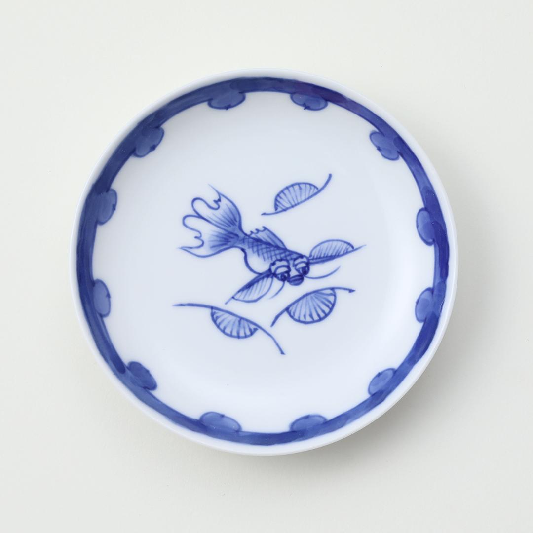 染付金魚絵豆皿