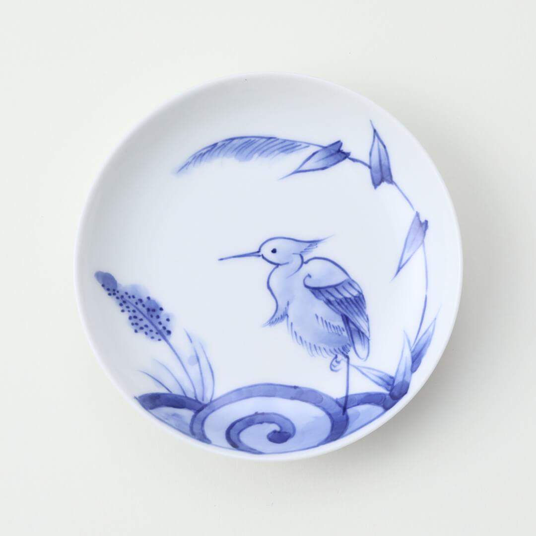 染付鷺絵豆皿