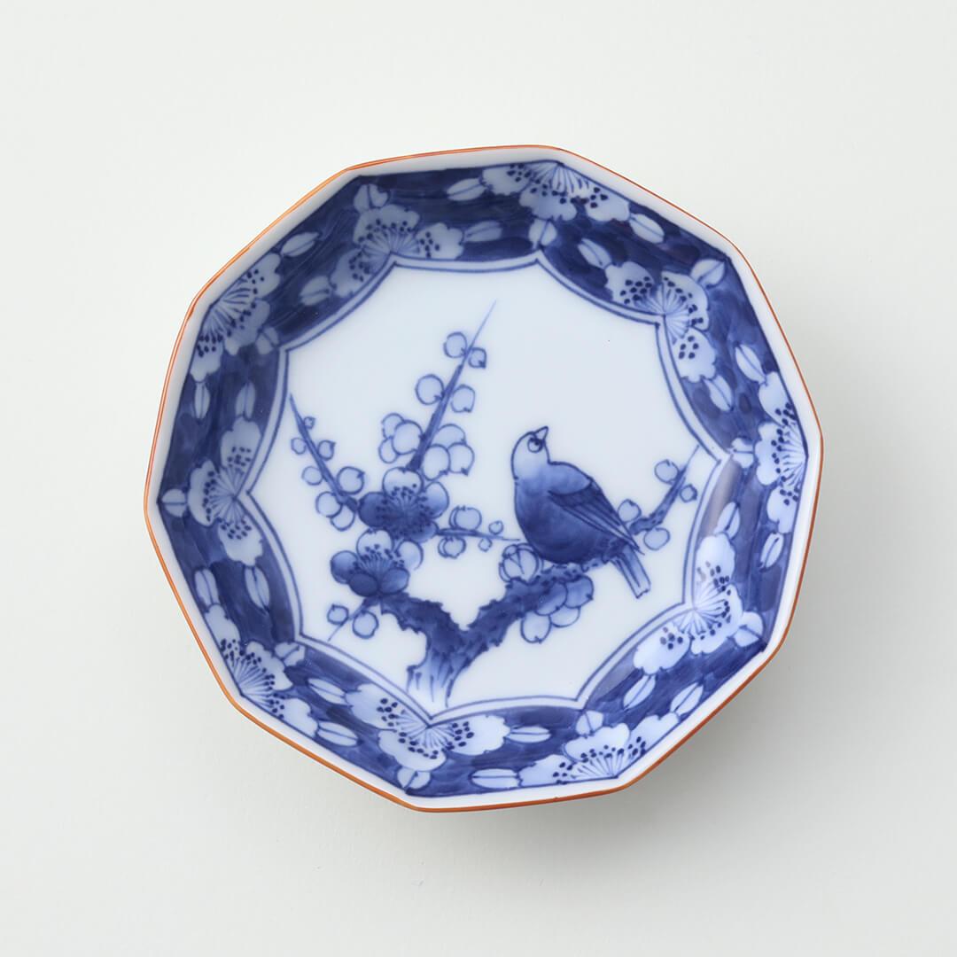 染付梅花鳥絵豆皿