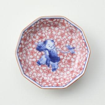 染付桜づめ 蜻蛉と唐子絵豆皿